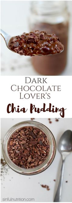 Dark Chocolate Chia Pudding -- A recipe for dark chocolate lovers! This chia pudding is healthy enough for breakfast, and sweet enough for dessert! Layered with cacao nibs gives this treat an extra chocolaty crunch!   @sinfulnutrition #ad #vegan #glutenfree