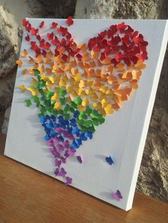 3D Butterfly Wall Art / Butterfly Rainbow Heart / by RonandNoy, $27.00