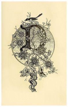 декоративные буквы-заставки немецкого художника Frederic Hottenroth. Старые-18 век.