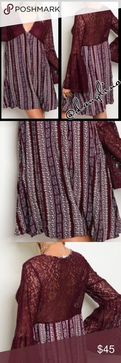 Boho style bell sleeves cute dress V neck line.                                                          Full length bell sleeves.                                        Fits true to size S(4-6)M(8-10)L(12-14).                       Self 100% rayon, lining 100% polyester.                 Laced detailing.                                                       Pull on styling. @danglina Dresses Mini