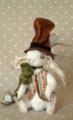 Teddy Bear style Artist viscose vintage OOAK  handmade collectible Rabbit toy by IntDolls on Etsy