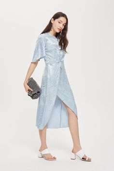 Jacquard Twist Midi Wrap Dress