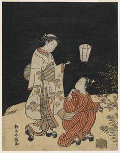 夜の萩 Young Man and Woman Hunting for Insects at Night