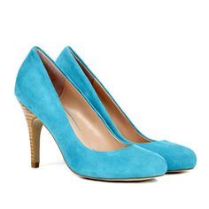Sole Society Marina round toe pump ($60) ❤ liked on Polyvore featuring shoes, pumps, bermuda blue, heels, heel pump, blue heel pumps, round toe suede pumps, blue high heel pumps and stacked heel shoes