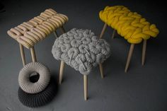 Claire Anne OBrien Knitted Stools The Trend for Knitting & Crochet in Interior Design Art Furniture, Furniture Design, Crochet Furniture, Funky Furniture, Recycled Furniture, London Design Festival, How To Purl Knit, Home And Deco, Best Interior Design