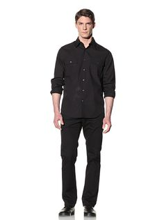Perry Ellis - Solid Button-Front Shirt