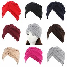 4390a1f9043 Women Beautiful Stretchable Knitted Indian Turban Hat Head Wrap Headwrap Cap  in Clothing