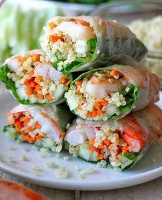 quinua shrimp lettuce spring rolls