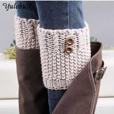 knit boot cuffs on sale at reasonable prices, buy 7 Colors Women Short Button Crochet Leg Warmers Winter Fall Knit Boot Cuffs Socks Boot Warmers Hollow Boot Toppers Gaiters from mobile site on Aliexpress Now! Guêtres Au Crochet, Crochet Boots, Crochet Buttons, Knit Boots, Crochet Slippers, Cotton Crochet, Boot Toppers, Fall Knitting, Knitted Boot Cuffs