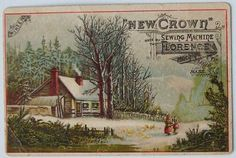 New Era Clothing trade card Springfield MA winter scene & snow Winter Scenes, Deco, Vintage Sewing, Pop Up, Clip Art, Victorian, Crown, House Styles, Cards