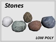 Low Poly Stones. Fully customizable low-poly 3D model. #3D #3DModel #3DDesign #Lowpoly #3dcomic #VR #AR #blender #boulder #engine #game #GameReady #mapped #normal #props #rock #stone #textured #unity Low Poly 3d Models, 3d Design, Vr, Unity, Engine, Stones, Rock, Game, Rocks