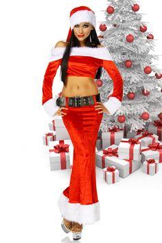Werden Sie zur Sexy Santa und Santa Claus wird Sie verehren! Elegantes Weihnachtsfrau-Kostüm mit breiten Fellbesätzen am Rocksaum, den Ärmeln und am Kragen.