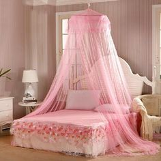 New Dome Elgant Round Lace Mosquito Net Solid Mosquito Net Bed Light Mosquitero Easy for Using Klamboe Bed Canopy Outdoor tool Bed Curtains, Lace Curtains, Girls Bedroom, Bedroom Decor, Bedding Decor, Canopy Bedroom, Crib Bedding, Bedding Sets, Decorating Rooms