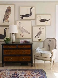 Bird prints by swedish artist olo rudbeck the younger. I like the varied size and shapes the birds