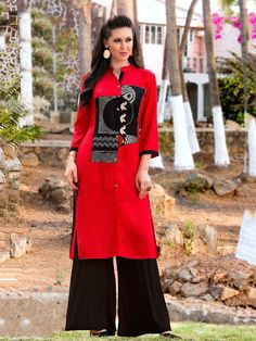 Marvelous red and black rayon casual wear simple kurti. Having fabric rayon. This beautiful attire is showing some amazing embroidery done with embroidery work. Gives you a amazing look for party or an occasion or any festivals #mydesiwear #Kurtis #Designerkurtis #CasualKurtis #TrendyCasualkurtis #CottonKurtis #OnlineShopping #PrintedCasualKurti #WeddingCollection #PartywearKurtis #WeddingTrendz #StyleWedding #Bridetobe