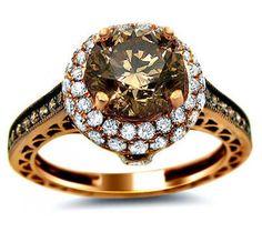 1.85ct Fancy Brown Chocolate Round Diamond Engagement Ring 14k Rose Pink Gold