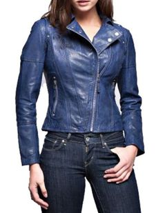 Womens Leather Jacket With Side Lace-Up Blue Sz Medium XMAS SALE NO RESERVE