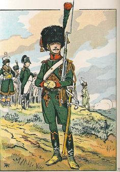 French; Chasseurs a Cheval, Chasseur, Tenue d'Piquet a Pied during the campaign of 1806