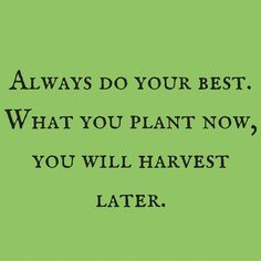 Always do your best. What you plant now, you will harvest later. ‪#‎QuotesYouLove‬ ‪#‎QuoteOfTheDay‬ ‪#‎MotivationalQuotes‬ ‪#‎QuotesOnMotivation‬ Visit our website for text status wallpapers. www.quotesulove.com
