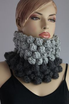 Chunky Knit  -  Crochet Bubble Tube Cowl Scarf - Headband - Neck Warmer. $60.00, via Etsy.