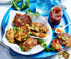 Our chickpea fritters recipe is loaded with veggies and make a perfect lunchbox stuffer or, served with bacon and egg, a satisfying lunch. Chickpea Fritters, Potato Fritters, Chickpea Stew, Chickpea Recipes, Vegetarian Recipes, Vegetarian Cooking, Lunch Recipes, Breakfast Recipes, Asian Vegetables