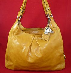 Authentic #Coach Maggie #Leather Saffron Large Shoulder Bag Handbag Satchel | eBay