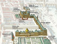 The palais du Louvre and the palais des Tuileries and their annexes on the Merian map of during the early reign of Louis XIII The Louvre was the primary residence of the King. Louvre Palace, Louvre Paris, Old Paris, Paris Map, Illustration Paris, Illustrations, Palaces, Versailles, Design Despace