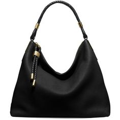 Michael Kors Collection Skorpios Leather Hobo Bag ($795) ❤ liked on Polyvore featuring bags, handbags, shoulder bags, black, leather handbags, man bag, leather purses, woven-leather handbags and hand bags