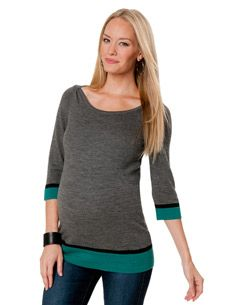 3/4 Sleeve Mock Layer Maternity Sweater