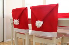 These DIY Santa Hat Chair Covers will get your whole family excited for Christmas! Christmas Sewing, Noel Christmas, Christmas Projects, Christmas And New Year, All Things Christmas, Winter Christmas, Christmas Chair, Xmas, Cheap Christmas