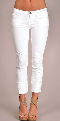 White Pants and Tan High Heeled Sandels