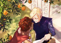 Damen & Laurent under an orange tree - Preview of @onekingdomzine