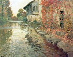 Frits Thaulow (Norwegian, Impressionism, 1847-1906): River, c. 1895. - Google Search