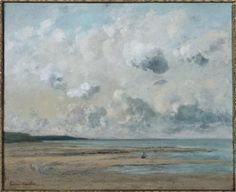 Normandy shore (beach in Trouville - Deauville) - Gustave Courbet , 1866 French, 1819 1877 Oil on canvas , Kunst Online, Online Art, Art And Illustration, Eugene Boudin, Art Français, Gustave Courbet, French Paintings, Art En Ligne, Oeuvre D'art