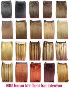 "16""-32"" 100% Brazilian Remy Hair Flip In/on Human Hair Extensions halo hair  100g 1pcs Set Single Hairpieces Double Weft"