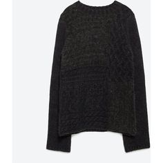 Zara Patchwork Sweater ($70) ❤ liked on Polyvore featuring tops, sweaters, anthracite grey, gray top, zara sweaters, grey top, grey sweater and zara top