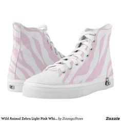 Wild Animal Zebra Light Pink White Stripe Zizzago Printed Shoes