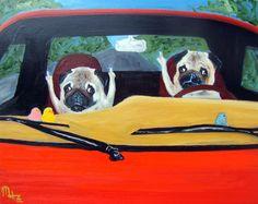 "11 x 14 / 1 / Pug perro Art Print / ""Road Rage"" / by Original Mike Holzer"
