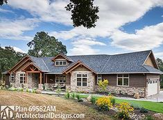 Beautiful Northwest Ranch Home Plan - 69582AM | Craftsman, Mountain, Northwest, Ranch, Photo Gallery, 1st Floor Master Suite, Butler Walk-in Pantry, CAD Available, Den-Office-Library-Study, PDF, Split Bedrooms, Corner Lot | Architectural Designs