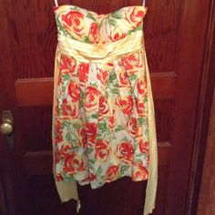 Madison Paige strapless summer dress Nwot beautiful strapless summer dress with tie back. Bought new did not fit me. Dresses
