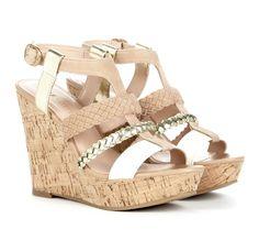Beige & White Wedge Heel