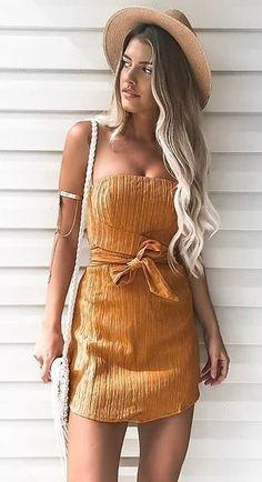 #fall #outfits dámske oranžové strapless mini šaty