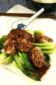 Honey, ginger & soy glazed pork fillet with bok choy