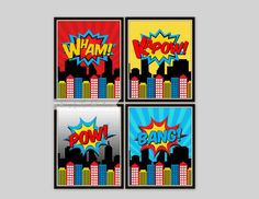 Superhero Prints - Boys Room Wall Art, 8x10- Wall Prints, Boys Room, Playroom, Childrens Room, Super Hero City, Pop Art, Comic Book on Etsy, $10.00