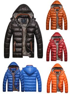 Mens Winter Thickened Warm Windproof Down Jacket Detachable Hat Coat
