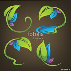 Vector: vector collection of colorful leaf frames