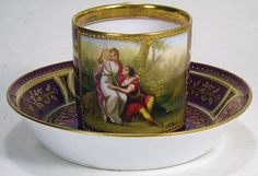 ROYAL VIENNA SIGNED SCENIC CUP/SAUCER