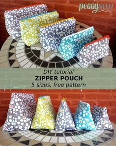 DIY, Multi purpose zipper pouch, free pattern in 5 sizes - Peggy Sew