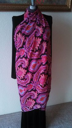 """SuZQ's Super Scarf! * Pink Floral Paisley Print* 44"""" X 70"""" * Long Scarf, shawl, skirt, sarong, bathing suit cover-up, post-workout *"""