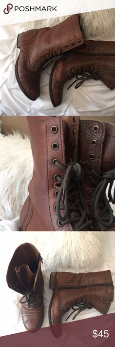 Steve Madden combat boots Steve Madden cognac colored combat boot. Beautiful leather. Lace up detail and zipper. Steve Madden Shoes Combat & Moto Boots